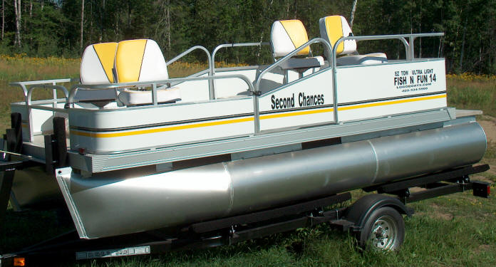Bass baby tiller steering 6 ft wide x 14 foot long pontoons for Baby bass fish for sale